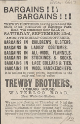 Advert for Trewby Brothers, drapers